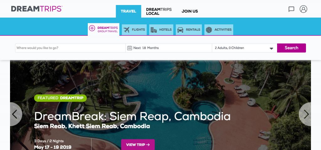 Site Dreamtrips pour reserver un voyage